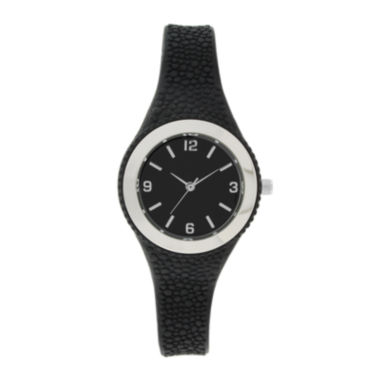 jcpenney.com | Womens Black Rubber Strap Watch