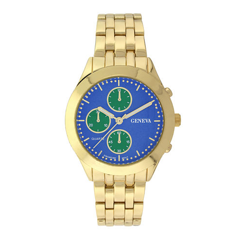 Geneva Womens Multifunction-Look Gold-Tone Bracelet Watch