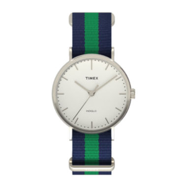 jcpenney.com | Timex® Weekender Fairfield Mens Blue Green Stripe Fabric Strap Watch