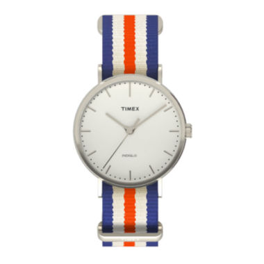 jcpenney.com | Timex® Weekender Fairfield Mens Orange Blue and White Stripe Fabric Strap Watch