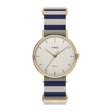 jcpenney.com | Timex® Weekender Fairfield Womens Blue and White Stripe Fabric Strap Watch