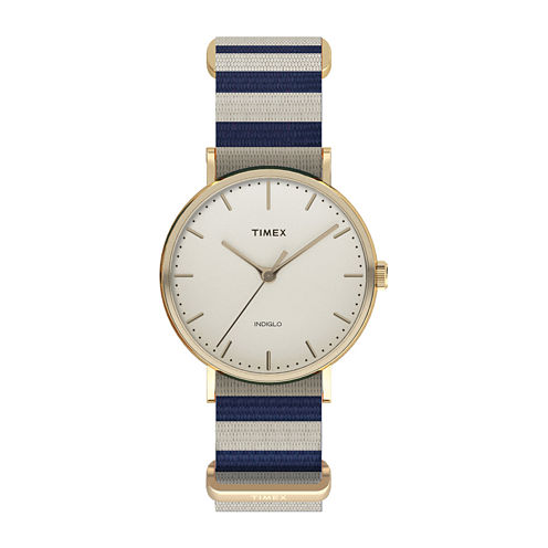 Timex® Weekender Fairfield Womens Blue and White Stripe Fabric Strap Watch