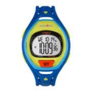Timex® Sleek Mens 50 Lap Blue Silicone Strap Digital Watch
