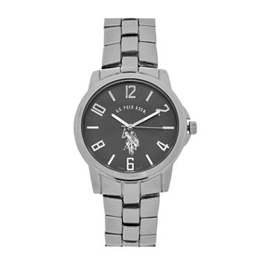 mens watches casual watches for men on jcpenney u s polo association® mens silver and black bracelet watch