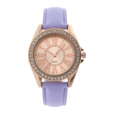 jcpenney.com | Womens Crystal-Accent Purple Strap Watch