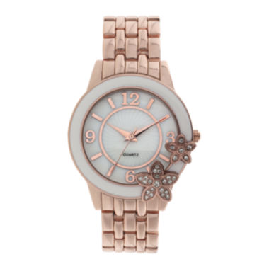 jcpenney.com | Womens Crystal-Accent Floral-Trim Rose-Tone Bracelet Watch