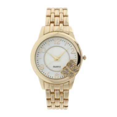 jcpenney.com | Womens Crystal-Accent Butterfly-Trim Gold-Tone Bracelet Watch