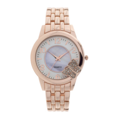 jcpenney.com | Womens Crystal-Accent Butterfly-Trim Rose-Tone Bracelet Watch