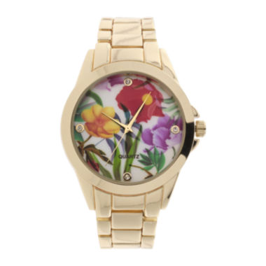 jcpenney.com | Womens Floral Dial Gold-Tone Bracelet Watch