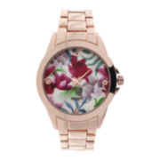 Womens Floral Dial Rose-Tone Bracelet Watch