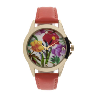 jcpenney.com | Womens Floral Dial Orange Strap Watch