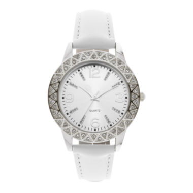 jcpenney.com | Womens Crystal-Accent White Strap Watch