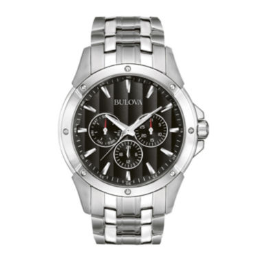 jcpenney.com | Bulova® Mens Black Dial Stainless Steel Watch 96C107