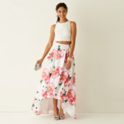My Michelle® Sleeveless Lace Top and Floral Print High-Low Skirt 2-pc.
