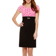 Alyx® Short-Sleeve Polka Dot Layered Sheath Dress - Petite