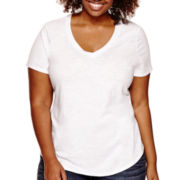 Stylus™ Short-Sleeve V-Neck Slub T-Shirt - Plus