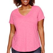 Stylus™ Short-Sleeve V-Neck Slub T-Shirt - Plus