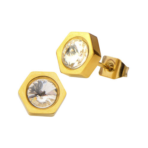 Crystal Yellow Ion Plated Stainless Steel Stud Earrings