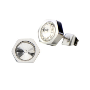 jcpenney.com | Stainless Steel Round Crystal Stud Earrings