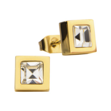 jcpenney.com | Stainless Steel And Yellow IP Princess Crystal Stud Earrings