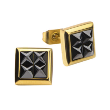 jcpenney.com | Stainless Steel and Yellow IP Black Squares Crystal Stud Earrings