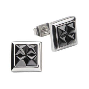 jcpenney.com | Stainless Steel Black Squares Crystal Stud Earrings