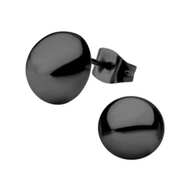 jcpenney.com | Stainless Steel and Black IP 10mm Hollow Button Stud Earrings