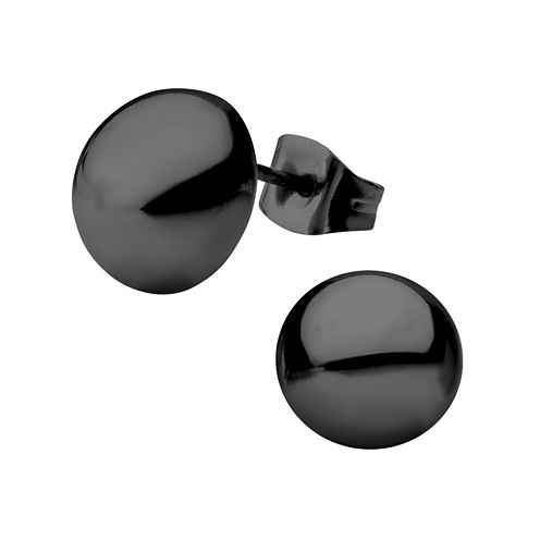 Stainless Steel and Black IP 10mm Hollow Button Stud Earrings