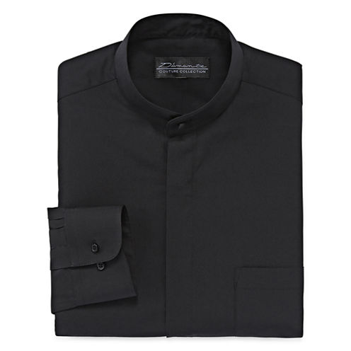 D'Amante Banded-Collar Long-Sleeve Dress Shirt