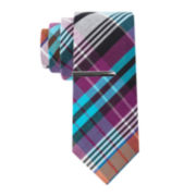 JF J. Ferrar® Cotton Madras Skinny Tie and Tie Bar Set