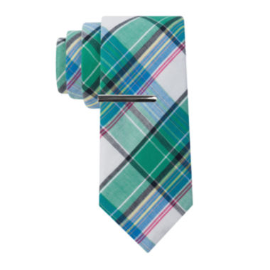 jcpenney.com | JF J. Ferrar® Cotton Madras Tie and Tie Bar Set - Extra Long