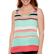 Liz Claiborne® Striped High-Low Tank Top - Petite