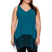 BELLE + SKY™ Sharkbite Fringe Tank Top - Plus