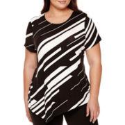 BELLE + SKY™ Short-Sleeve Asymmetrical T-Shirt - Plus