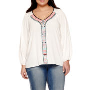 Bisou Bisou® Long-Sleeve Embroidered Blouse - Plus