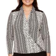 Bisou Bisou® Long-Sleeve Surplice Crochet Top - Plus