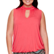 Bisou Bisou® Sleeveless Halter Bubble Top - Plus