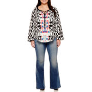 Bisou Bisou® Tassel-Tie Bell-Sleeve Blouse, Deconstructed Wide Leg Jeans - Plus
