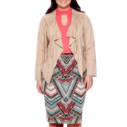 Bisou Bisou® Faux-Suede Fringe Jacket, Halter Bubble Top or Scuba Skirt - Plus