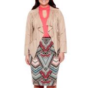 Bisou Bisou® Faux-Suede Fringe Jacket, Halter Bubble Top or Scuba Skirt - Plus