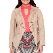 Bisou Bisou® Long-Sleeve Faux-Suede Fringe Jacket - Plus