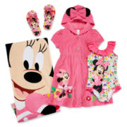 Disney Collection Minnie Mouse 1-pc. Swimsuit, Cover-Up, Flip Flops or Towel - Girls