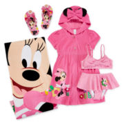 Disney Collection Minnie Mouse 2-pc. Swimsuit, Cover-Up, Flip Flops or Towel - Girls