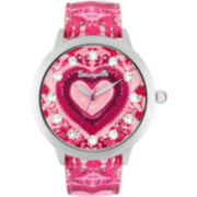 Betseyville® Womens Crystal-Accent Heart Watch