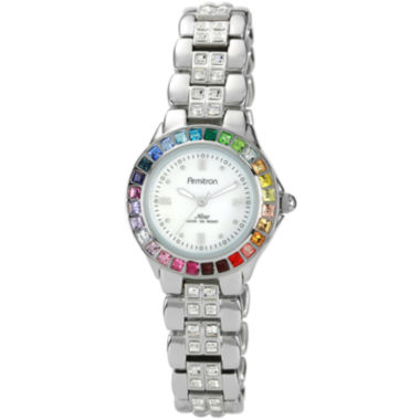 jcpenney.com | Armitron® Now® Womens Rainbow Crystal Accent Silver-Tone Mother-of-Pearl Watch