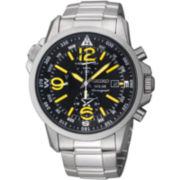 Seiko® Mens Silver-Tone Round Solar Watch SSC093