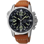 Seiko® Mens Chronograph Leather Strap Solar Watch
