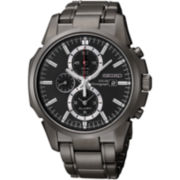 Seiko® Mens Black Chronograph Solar Watch SSC095