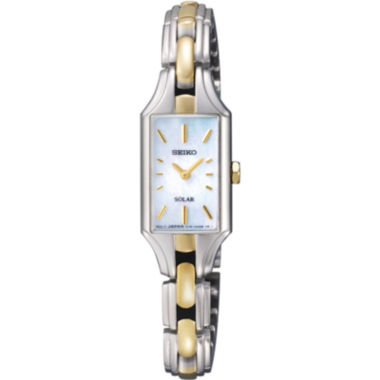 jcpenney.com | Seiko® Womens Two-Tone Mother-of-Pearl Solar Watch SUP164