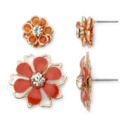 Mixit® Gold-Tone and Orange Metal Flower 2-pr. Earring Set